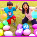 Huge Easter Egg Hunt Surprise Toys for kids outdoor fun with Ryan ToysReview